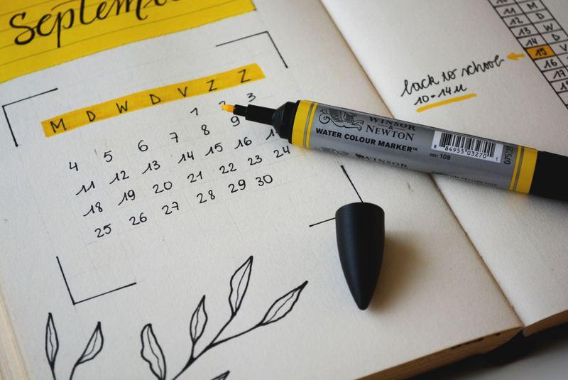 agenda calendrier septembre