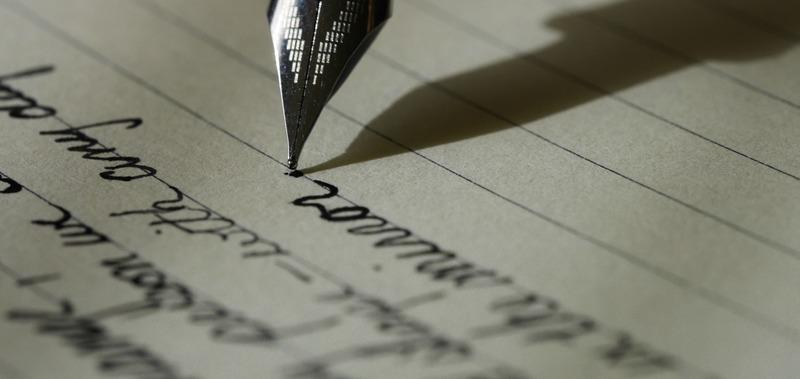 lettre écrite à l'encre