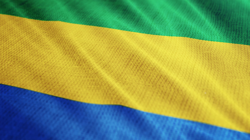 Gabon flag is waving 3D illustration. Symbol of Gabon national on fabric cloth 3D rendering in full perspective