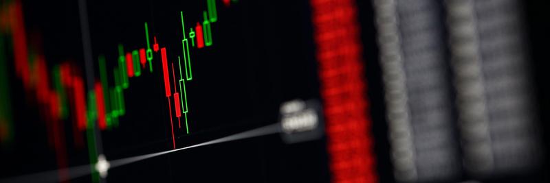 Closeup of international stock market bids graph indicator