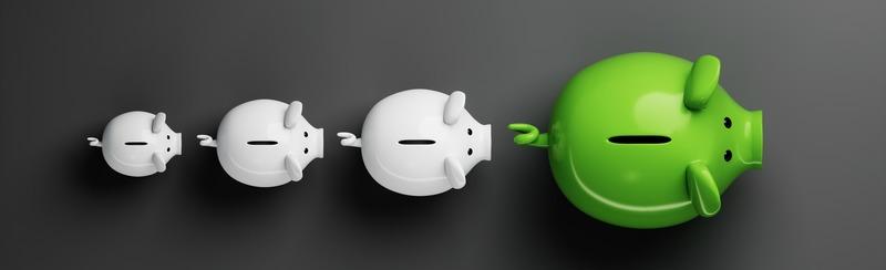 4 Sparschweine in Reihe Weiß Grün