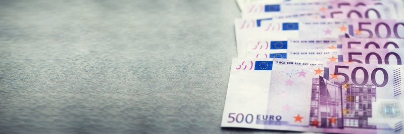 Euro currency money banknotes background. Payment and cash concept. Announced cancellation of five hundred euro banknotes. Top view. Banner. Copy ...