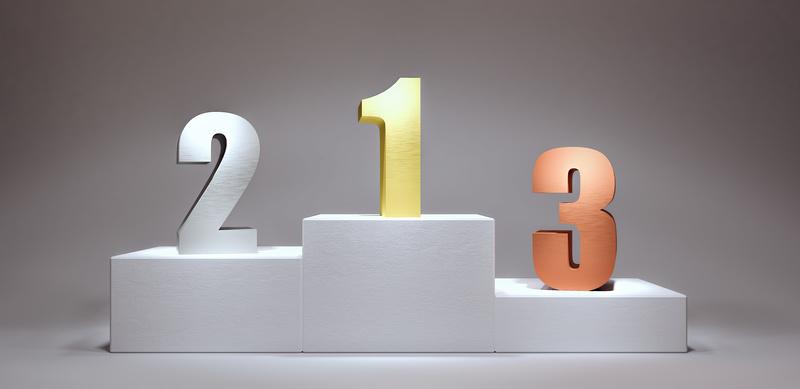 Winners Podium with numbers 3d render 3d illustration