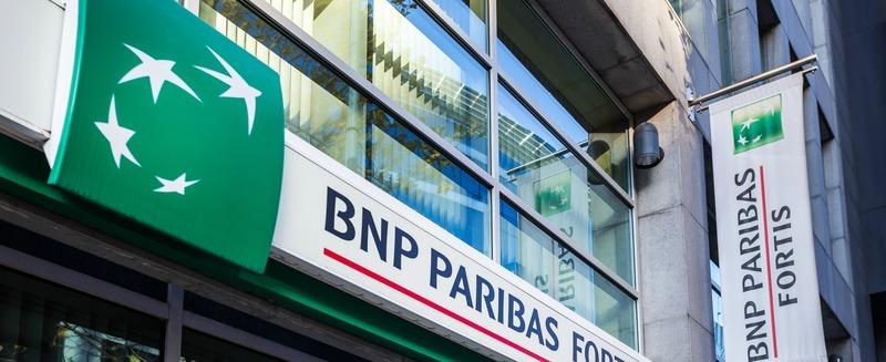 brussels, brussels/belgium - 12 12 18: bnp paribas fortis bank sign in brussels belgium
