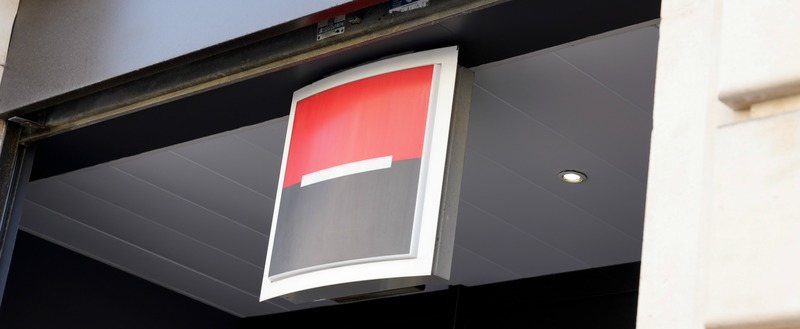 societe generale french bank sign on street entrance facade