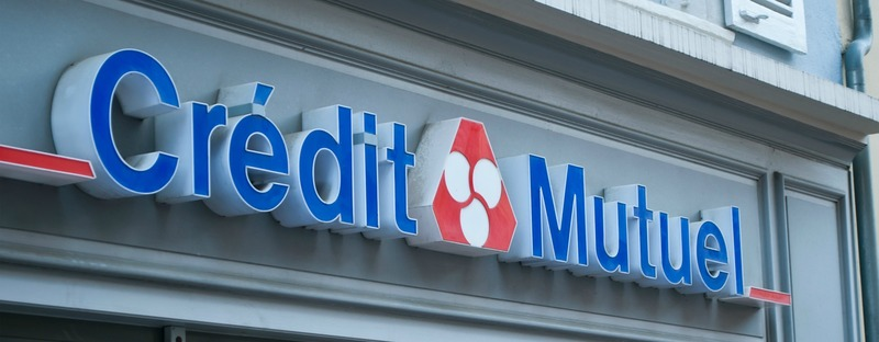 "MULHOUSE - FRANCE - 19 May 2016 - ""credit mutuel"" french bank signage"