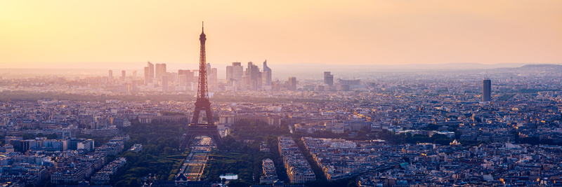 High resolution aerial panorama of Paris, France taken from the Notre Dame Cathedral before the destructive fire of 15.04.2019. The river Seine. Aerial view of Paris at sunset. Paris, France