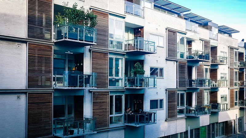 View of modern style city centre apartment block in Aarhus Denmark