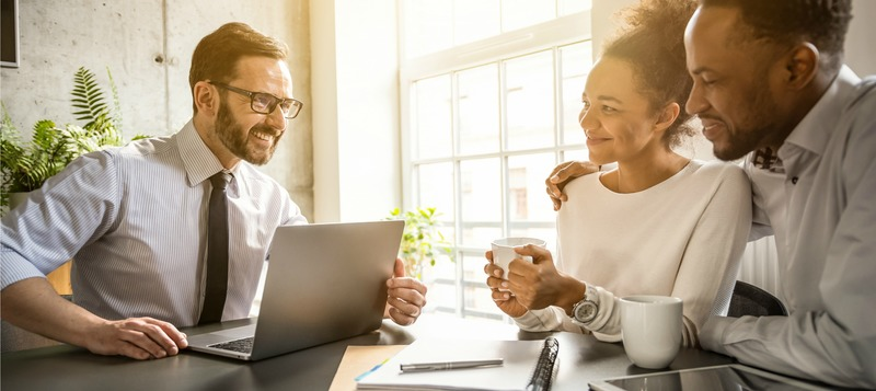Family couple consultations with a lawyer or insurance agent.
