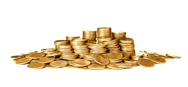 Pile of shiny USA coins on white background