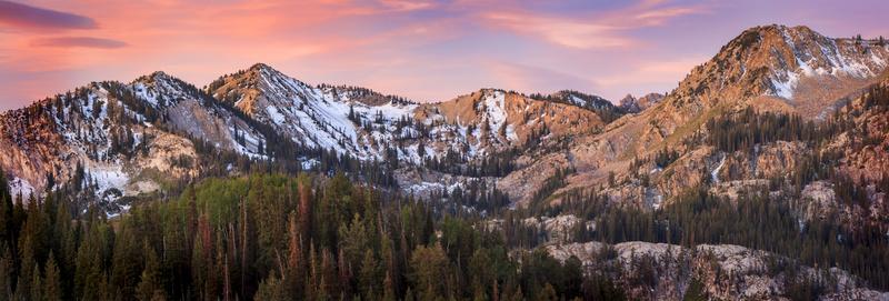 Sunrise panorama in the Wasatch Mountains, Utah, USA.
