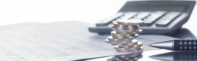 Finanzen, Euro, Münzstapel auf Tabellen mit Stift und Taschenrechner, Panorama, Hintergrund