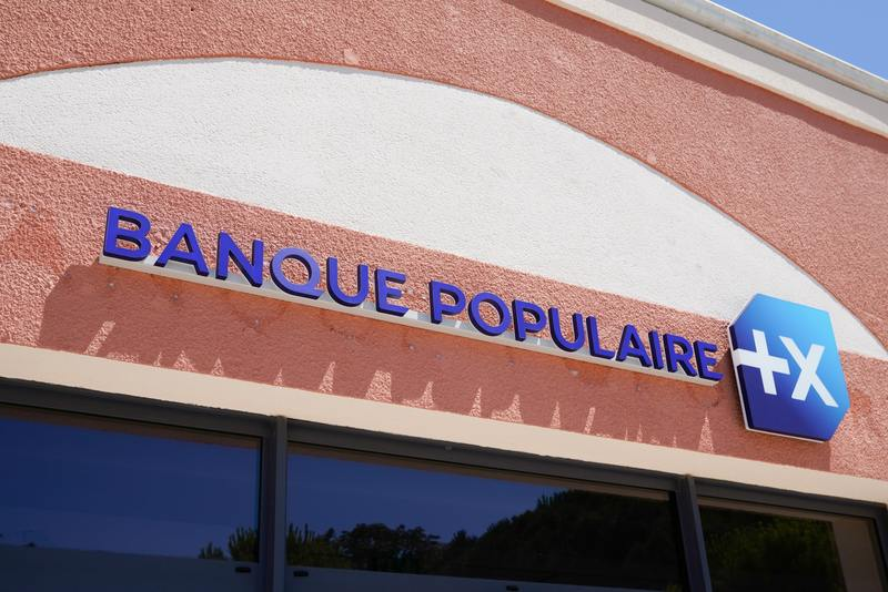 Banque populaire office sign text logo for bank french agency