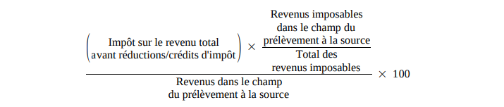 comment calculer la retenue à la source