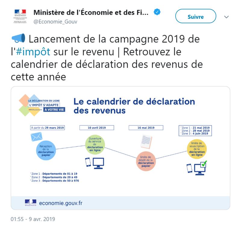 Le calendrier de la déclaration des revenus